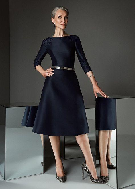 Elegant Satin Bateau Neckline A-line Mother Of The Bride Dresses With Lace Appliques   Belt