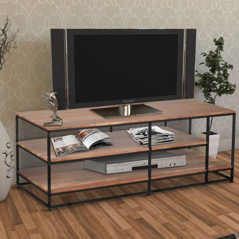 Add a stylish and functional appeal to your living space by bringing this 3 tier entertainment unit and create clutter-free storage. It is complemented with the blend of brown and Dark Gray finish that goes well with your existing decor. It incorporates straight tubular legs with floor levelers to stop wobbling on an uneven floor and offer easy mobility.   #theurbanport #furniture #indusrialdecor #entertainmentcenter #mediaunit #neutraldecor #moderninterior #styleithappy #simplystyleyourspace