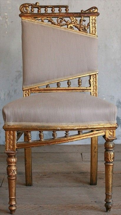 Vintage Gilt Side Chair - gold and lavender - --- modern bohemian boho interior design / vintage and mod mix with nature, wood-tones and bright accent colors / anthropologie-inspired chic mid-century home decor