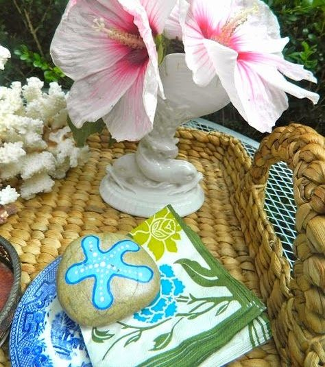 Decorative beach rock napkin weight.