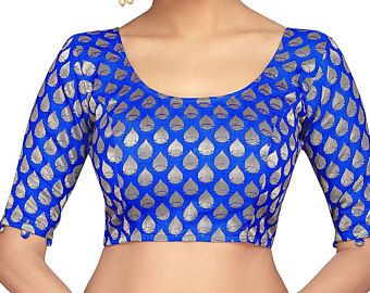 Readymade BROCADE Banaras Print Party Wear Tunic for Sari Women Crop Top Wedding Art Silk Choli Stitched Saree Blouse