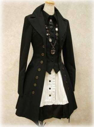 love this coat. This would be awesome for my Steampunk Alice costume. Maybe in a dusty sky blue or faded black and white stripes.