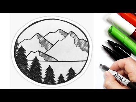 رسم منظر طبيعي سهل رسم سهل تعليم رسم منظر طبيعي سهل وجميل للمبتدئين تعلم الرسم Youtube