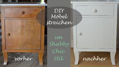 DIY - Ein altes Schränkchen mit weißer Kreidefarbe im Shabby Chic - shabby chic vorher nachher