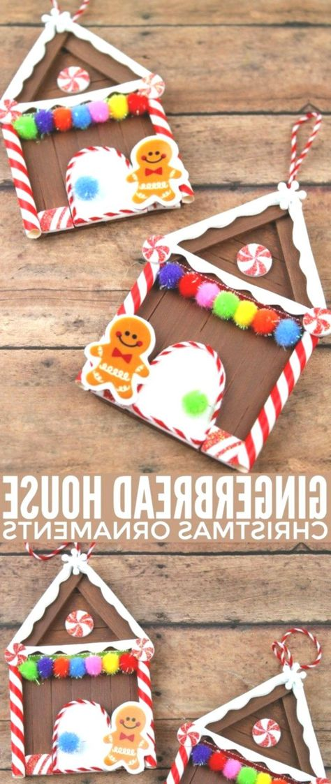 Popsicle Stick Gingerbread House Christmas Ornaments - Women Weaves - #christmas #gingerbread #House #ornaments #popsicle #stick #Weaves #Women