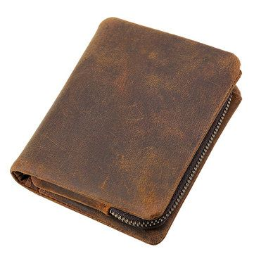 7d0e0fcf1576cf Hot-sale Genuine Leather Bifold Wallet Casual Vintage 10 Card Slots  Removable Coin Bag Card