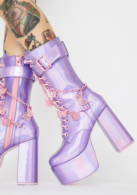 Cute Shoes, Me Too Shoes, Dolls Kill Shoes, Nylons, Glitter Boots, Aesthetic Shoes, Stiletto Boots, Purple Bags, Buckle Boots