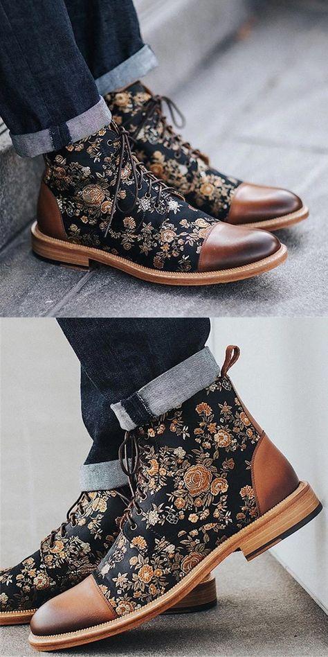 Fashion Pattern Boots Men