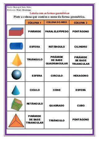 Loteria Formas Geometricas Atividades De Geometria Atividades