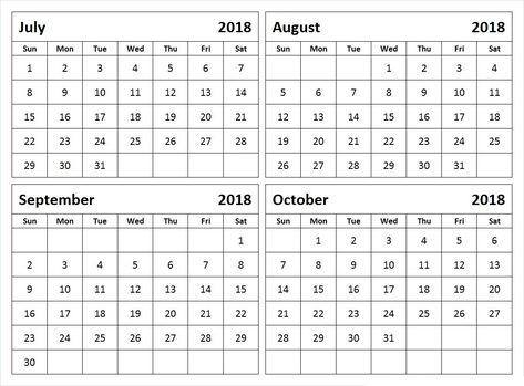 Monthly Calendar July August September October 2018 4 Month August