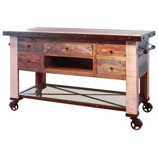 Gracie Oaks Coralie Kitchen Island Wayfair Kitchen Island Furniture Minimalist Kitchen Design Rustic Furniture