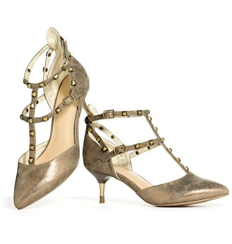 """mark. Point The Way Heels - A classically feminine, pointy-toed kitten heel gets the rock 'n' roll treatment with edgy, pyramid-studded straps and a super-cool distressed texture. Faux leather. 2 1/4"""" heel. http://tinadryden.avonrepresentative.com/"""