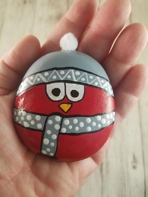 Painted Rock - Red Snow Bird 3 - Paula Fleagle - #bird #Fleagle #painted #Paula #Red #Rock #snow