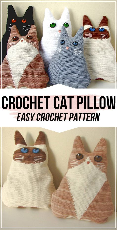 Crochet Cat Pillow pattern - easy crochet pillow pattern for beginners - Crafts . : Crochet Cat Pillow pattern – easy crochet pillow pattern for beginners – Crafts – Crochet Pillow Pattern, Crochet Cushions, Easy Crochet Patterns, Crochet Stitches, Knitting Patterns, Simple Crochet, Cross Stitches, Crochet Ideas, Gato Crochet