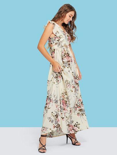 dcad2281b8 Knot Open Back Ruffle Armhole Surplice Wrap Dress | Dresses ...