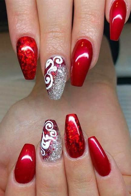 65 Christmas Holiday Coffin Nail Designs In Red And Gold Metallic Nails Design Christmas Nails Nail Designs