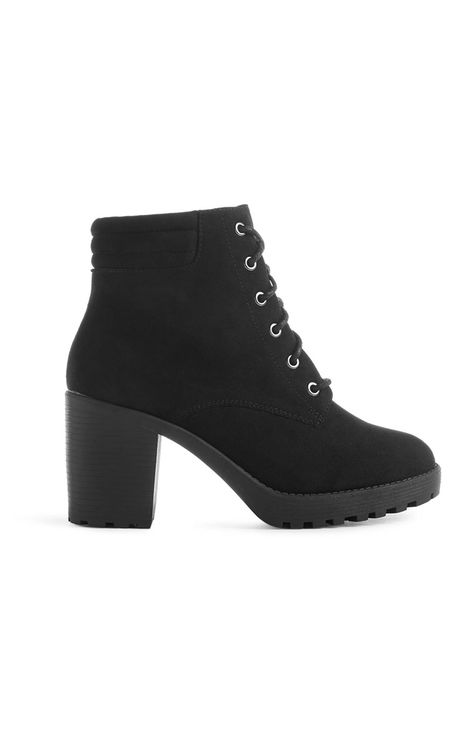 Black Lace Up Heel Boot