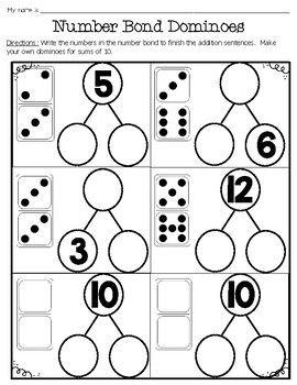 Freebie Number Bond Domino Worksheets Number Bond Number Bonds Worksheets Domino Number bonds to worksheet free