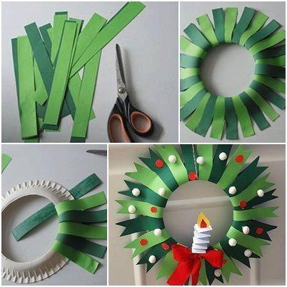 Corona de navidad hecha a mano - manualidad - #activitémanuelleenfantnoel Corona de navidad hecha a mano - manualidad -