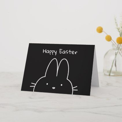 Simple Modern Drawing Black And White Easter Bunny Card With