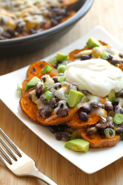 Sweet Potato Nachos! A quick and easy option for lunch or dinner that's not only delicious, but loaded with good-for-you ingredients!