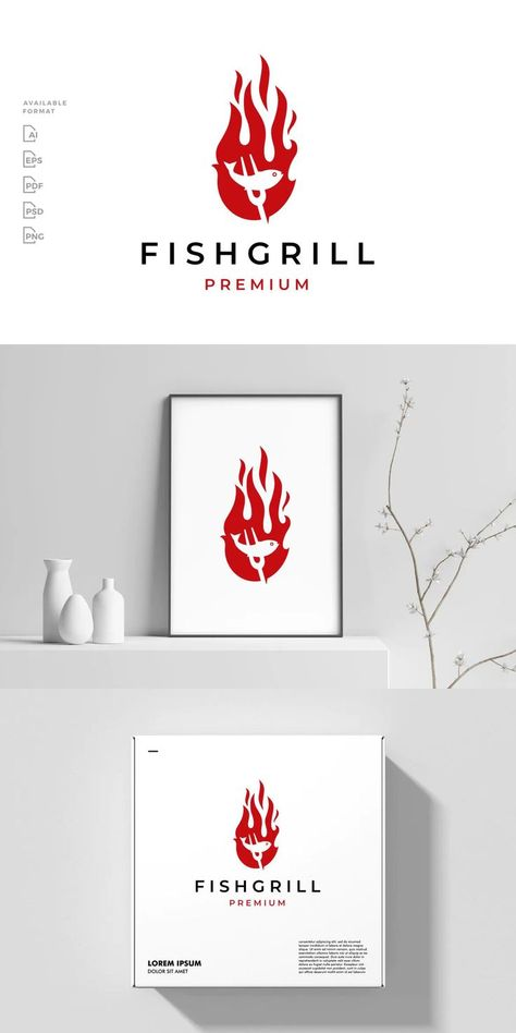Grilled Fish Fire Logo Template AI, EPS, PSD