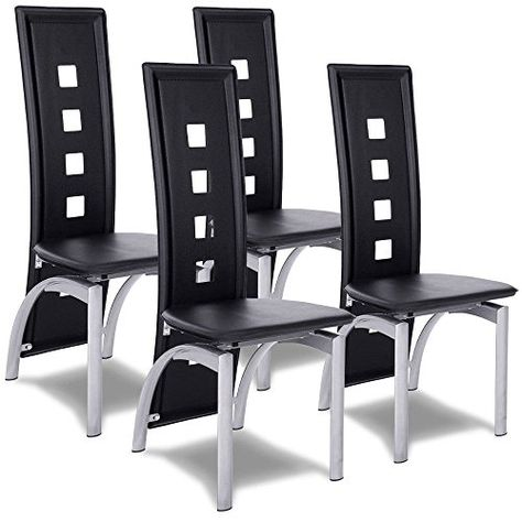 Set Of 4 Modern Dining Chairs High Back Side Chairs Home Kitchen