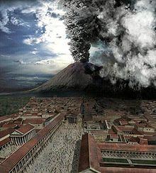 Mount Vesuvius erupting at the Roman cities of Pompeii and Herculaneum. History, archaeology