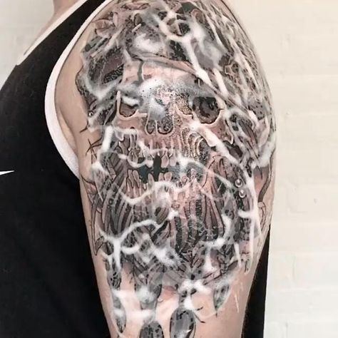Neo Traditional Pirate Skull Tattoo!