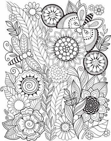 Disegni Fiori Da Colorare Per Adulti : disegni, fiori, colorare, adulti, Libro, Colorare, Adulti., Fiori, Estate., Elementi, Vettore, Disegni, Estate,, Libri, Adulti,