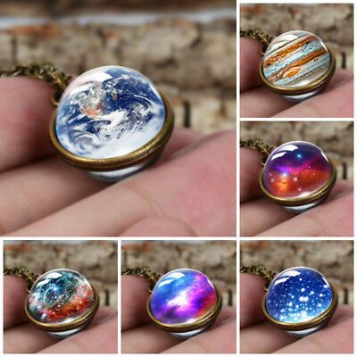 Charm Duplex Planet Crystal Ball Glass Galaxy Necklace Valentine's Day Gift NEW