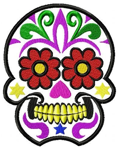 Mexican Sugar Skull embroidery design  to fit  5x7 and 6x10 hoop.