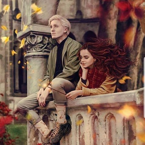 Found this cool painting of Hermione and Draco on Instagram