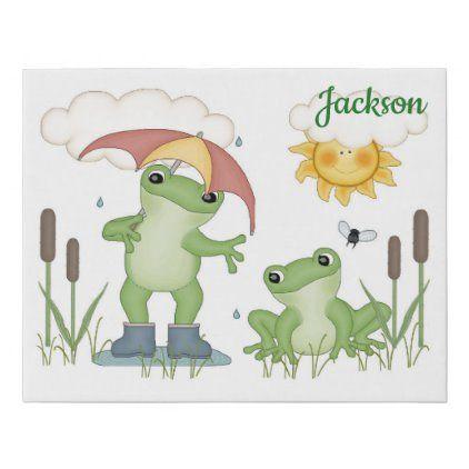 Frog Umbrella Rain Baby Nursery Kids Bathroom Room Faux Canvas Print Zazzle Com Baby Nursery Art Baby Nursery Rain Baby