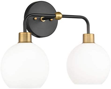b8822b46f5859 Lukasa 2 Light Bathroom Vanity Light | Black w/Antique Brass Hallway ...