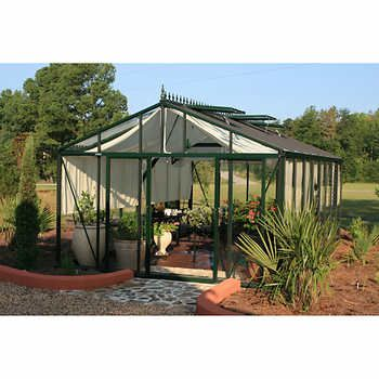 Royal Victorian Dark Green 12 5 X 20 Glass Walled Greenhouse Wooden Greenhouses Greenhouse Diy Greenhouse