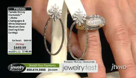 Take it up a notch! Pamela Mccoy Diamonds(Tm) 1.25ctw Champagne & White Diamond Earrings ERV: $869.00 JTV Price: $449.99 (Check out the available StretchPay!)