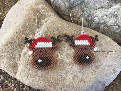 Reindeer Beaded Earrings   Etsy