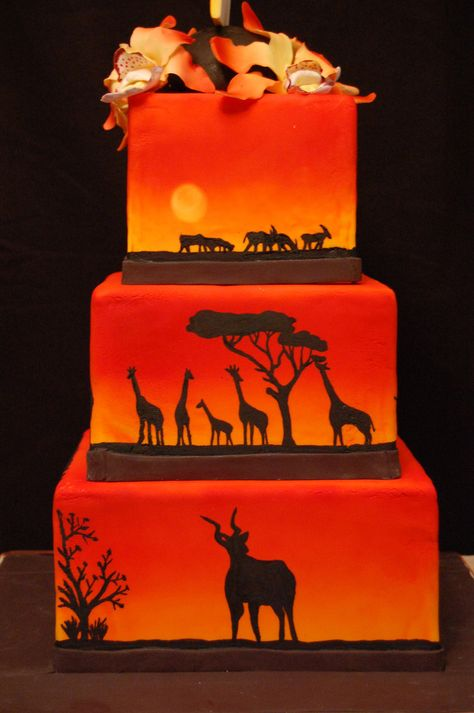 Sunset Safari Cake - For all your cake decorating supplies, please visit craftcompany.co.uk