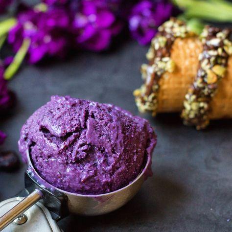Blueberry & Acai Ice Cream By Sweetened With Dates – Organic Burst