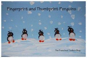 Fingerprint and Thumbprint Penguins - art activity to accompany Penguin and Pinecone by Salina Yoon!