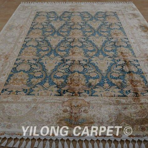 Yilong 7 1 X10 1 Handknotted Silk Area Rug Home Decor Antistatic Carpet 1879 Ebay In 2020 Silk Area Rugs Country Kitchen Layouts Dark Blue Kitchens