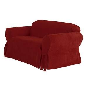 Soft Suede Loveseat Slipcover Sure Fit Slipcovers Suede Sofa Loveseat Slipcovers