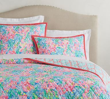 Lilly Pulitzer Fan Sea Pants Reversible Cotton Quilt Full Queen