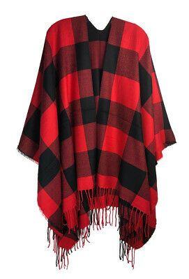 Red Black Buffalo Check Poncho NWT