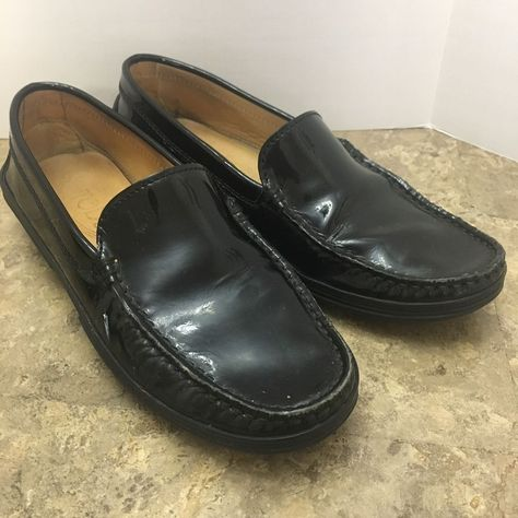 ebac892c4b2 Womens Tod s Black Patent Leather Loafer Slip On Flats Shoes Size 35 US 5   Tods  LoafersMoccasins