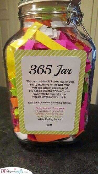 Jar Of Notes Personal Gifts For Her Best Anniversary Gifts Mason Jar Gifts Diy Diy Gifts In A Jar