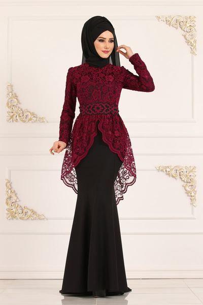 Modaselvim Abiye Dantelli Balik Abiye Asm2136 Siyah Musluman Modasi Dantel Elbise The Dress