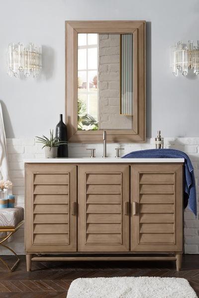 Single Bathroom Vanity, 48 White Washed Bathroom Vanity