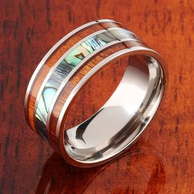 Koa Wood Abalone Titanium Wedding Ring Mens Ring 10mm Mens Wedding Rings Titanium Wedding Band Mens Titanium Wedding Rings
